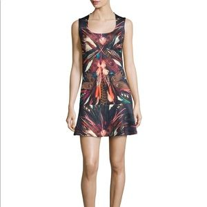 NWT Nicole Miller Tail Feathers Neoprene Dress